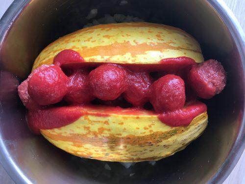 Szybkowar Cosori - dynia makaronowa z pupletami